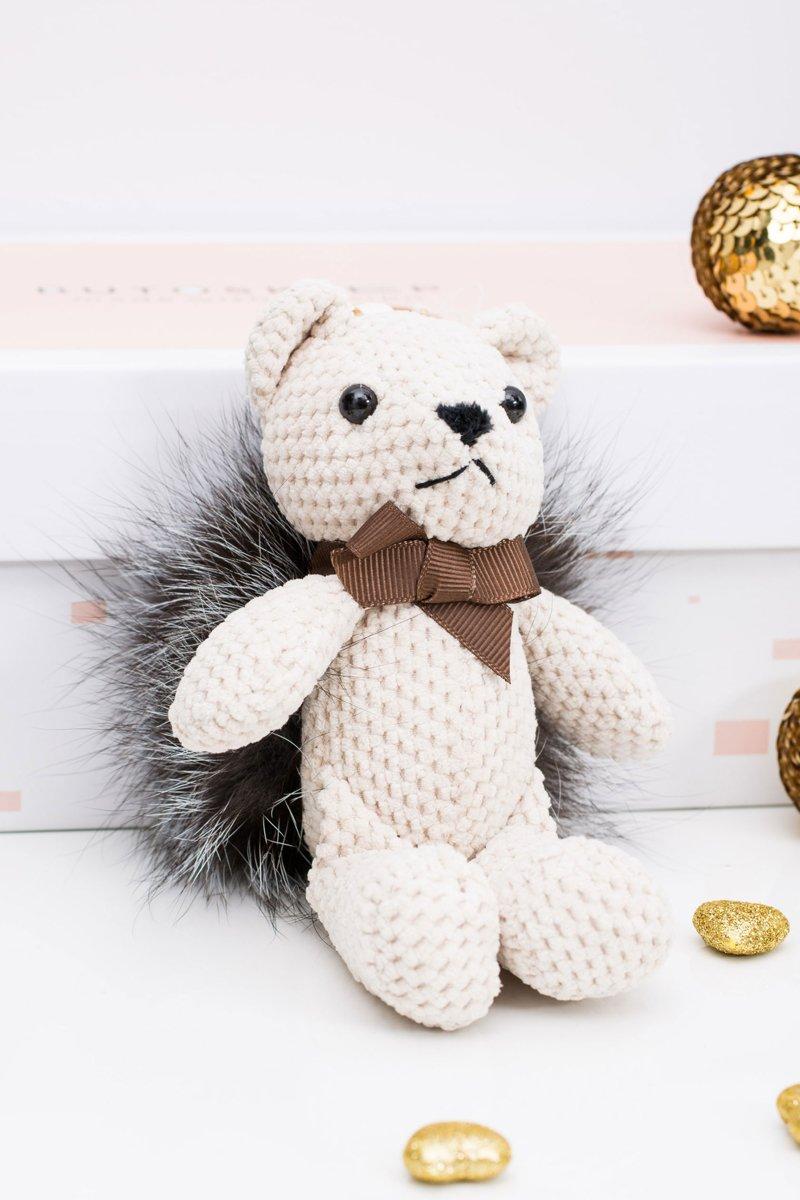 Big Teddy Bear Kubuś with Fur Pendant Keychain for Purse
