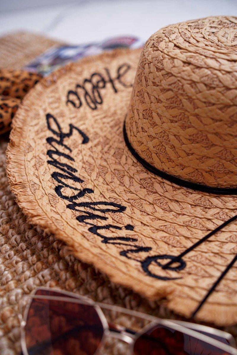 Braided Hat BRUNO ROSSI Hello Sunshine Camel