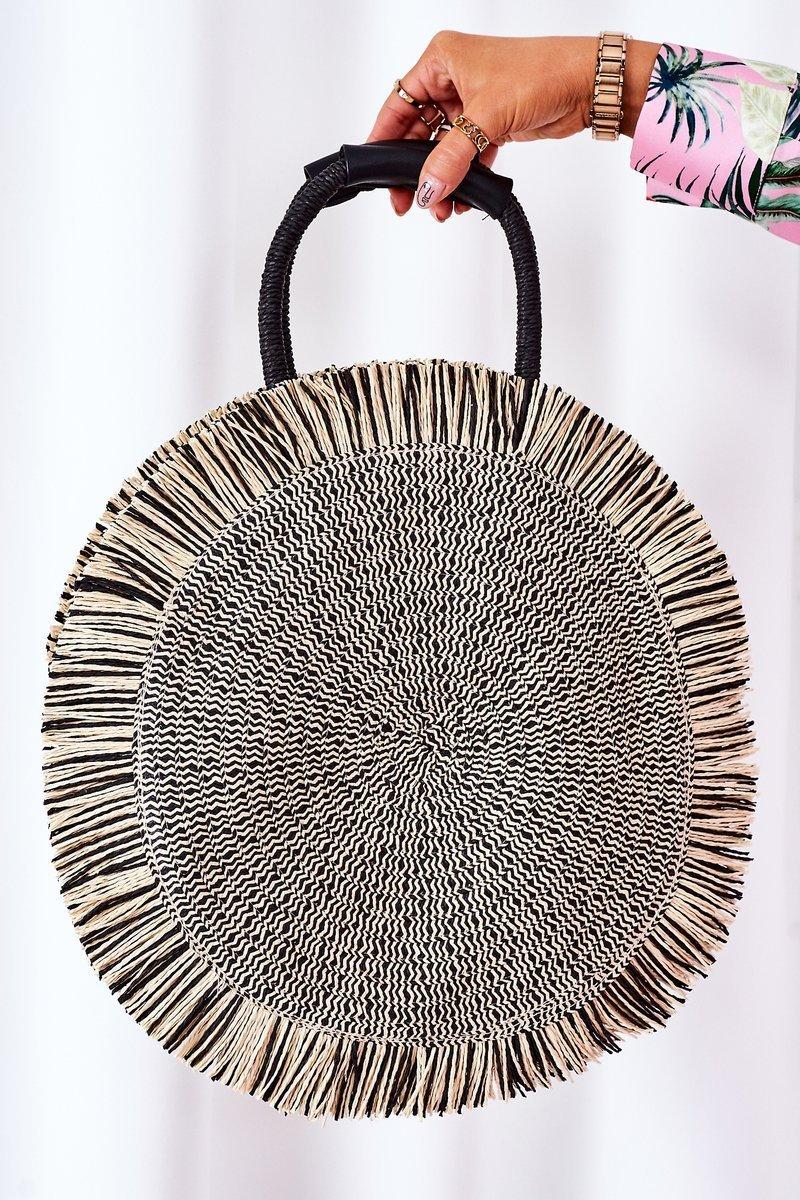 Braided Round Bag BRUNO ROSSI Black-Beige