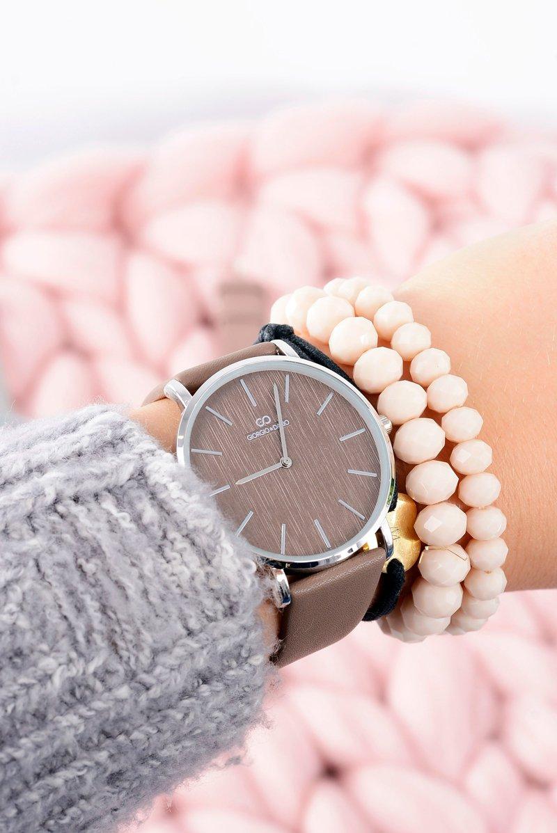 Brązowy Stylowy Skórzany Damski Zegarek Giorgio&Dario