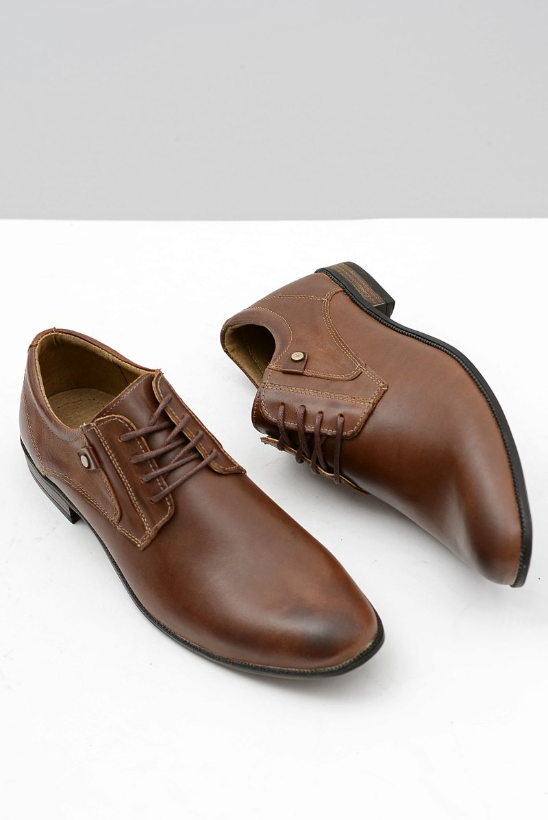 Brown Leather Elegant Walking Shoes Massimiliano