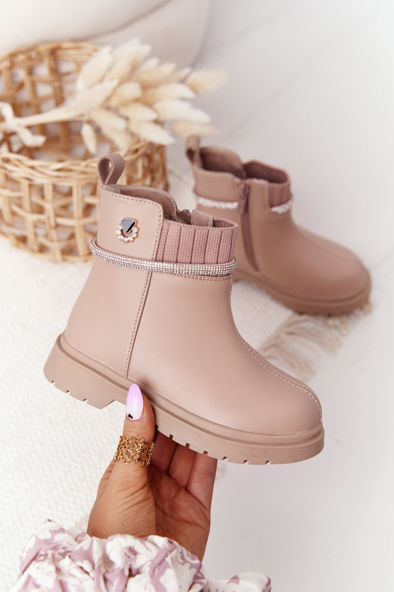 Children's Boots With Sequins Beige Toffees