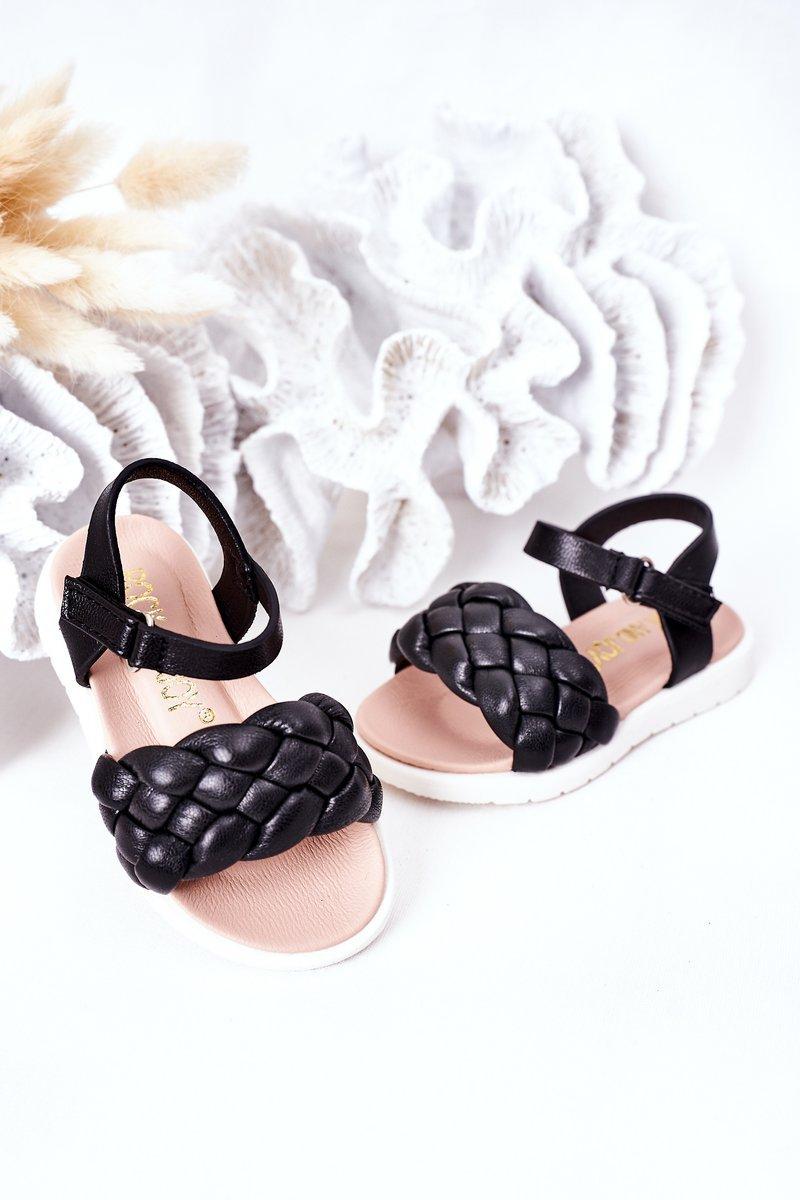 Children's Braided Sandals Black Adella