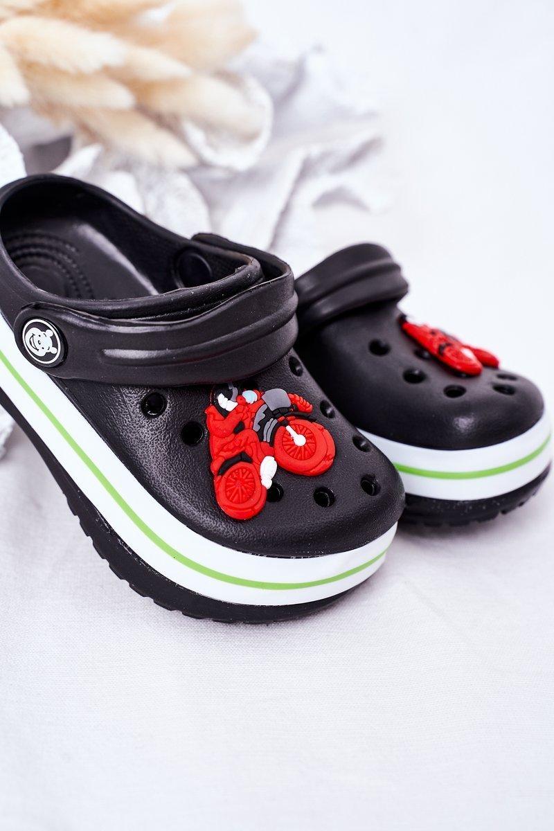 Children's Foam Slippers Crocs Black Lazy Day