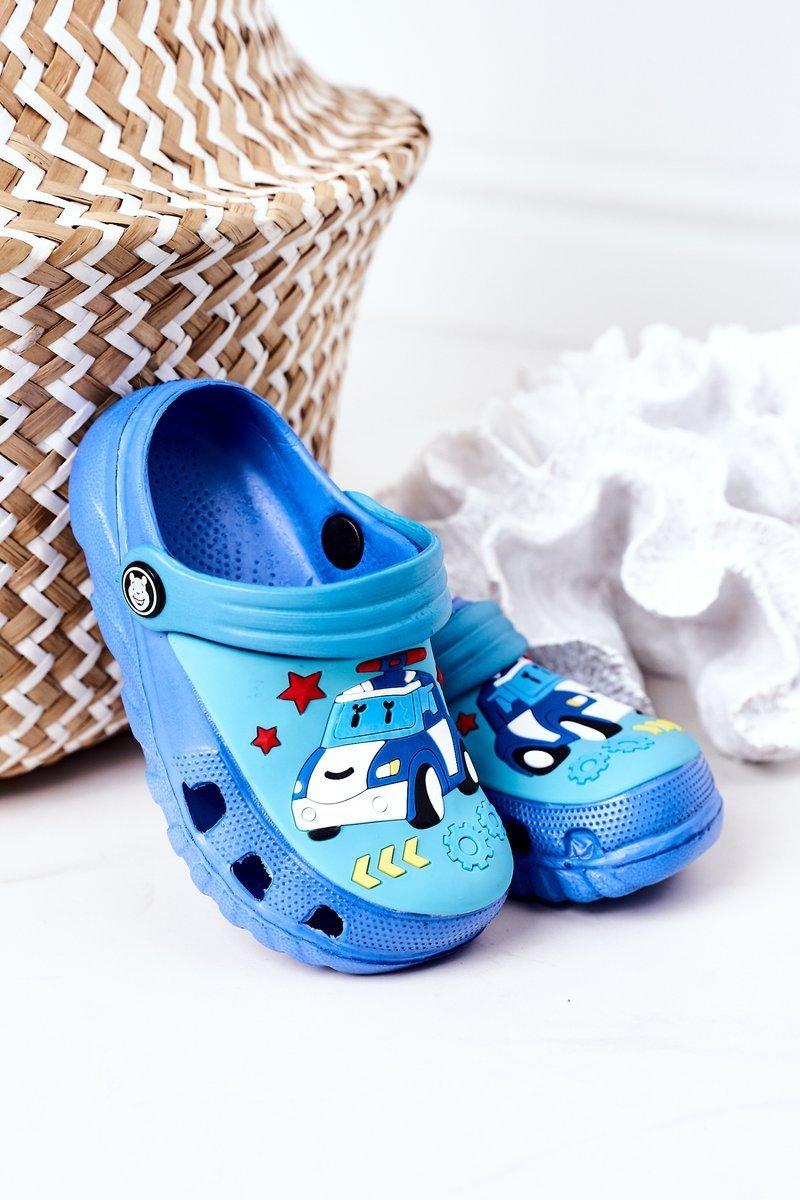 Children's Foam Slippers With A Car Blue