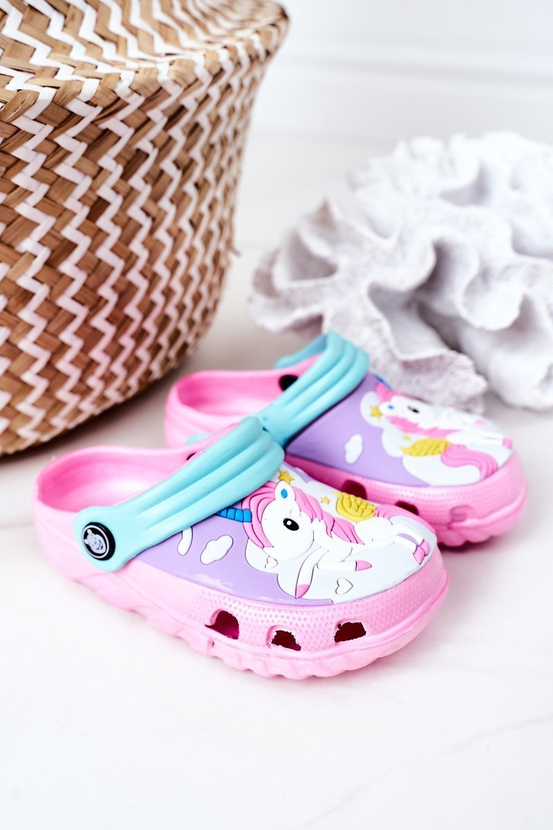 Children's Foam Slippers With A Unicorn Pink