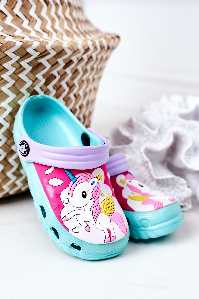 Children's Foam Slippers With A Unicorn Turquoise
