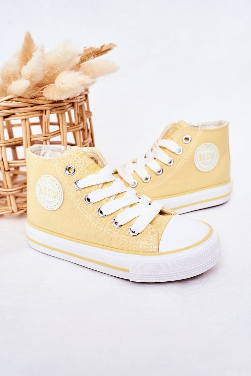 Children's High Sneakers With A Zipper BIG STAR HH374138 Yellow