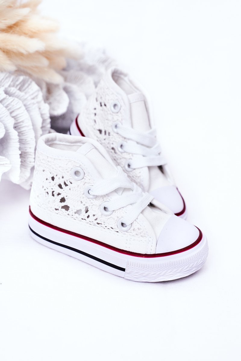 Children's High Sneakers With Lace White Roly-Poly