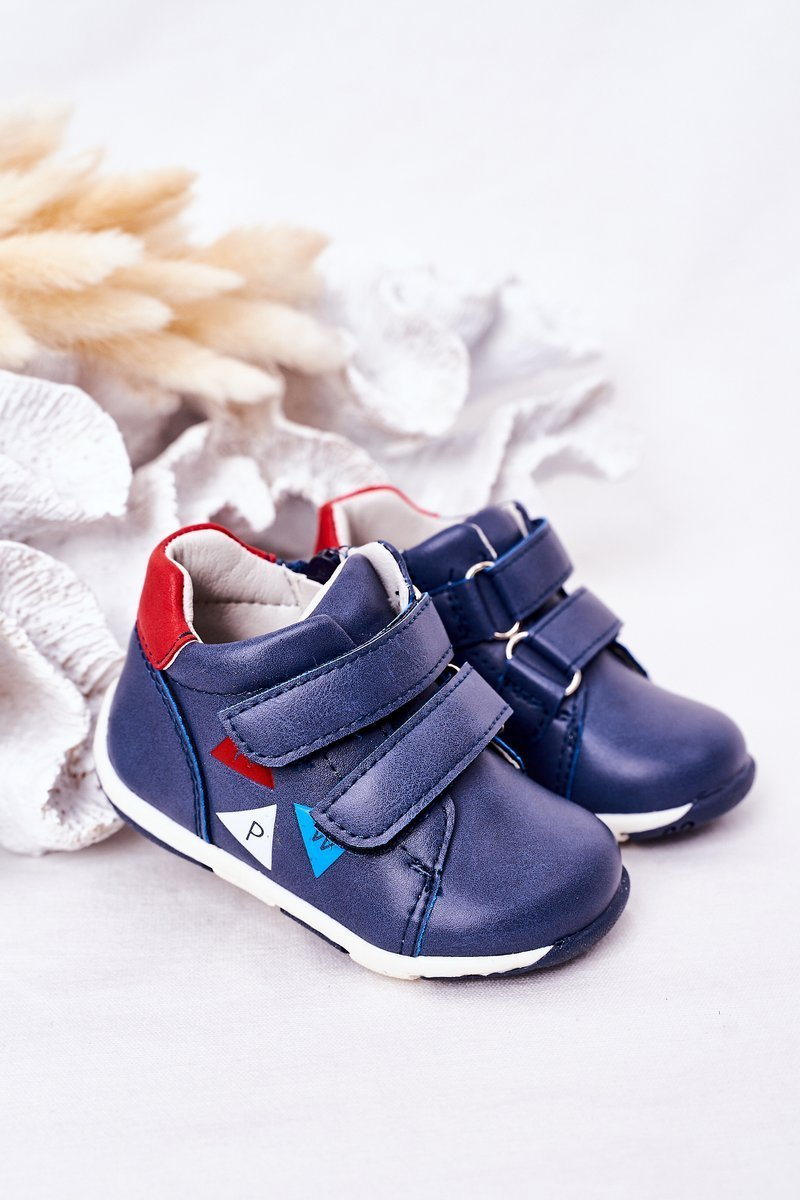 Children's Leather Shoes With Velcro Navy Blue Milo