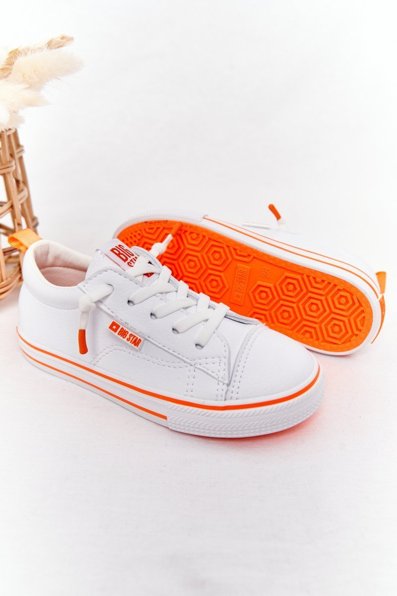 Children's Leather Sneakers BIG STAR HH374036 White-Orange