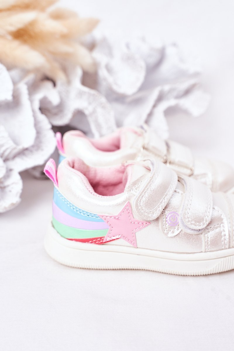 Children's Leather Sport Shoes With Rainbow White Jasmine