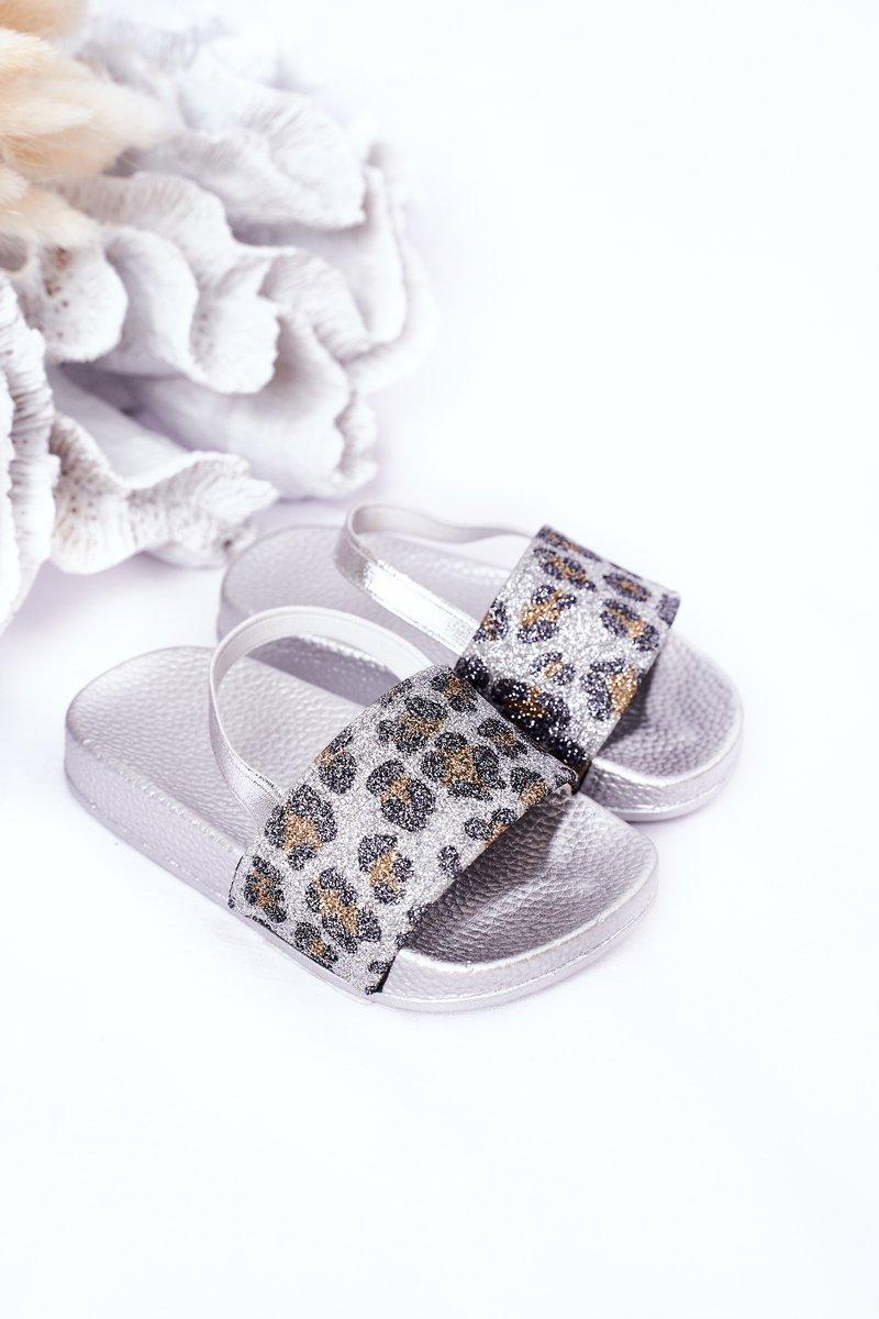 Children's Rubber Slippers With Glitter Silver Rimia