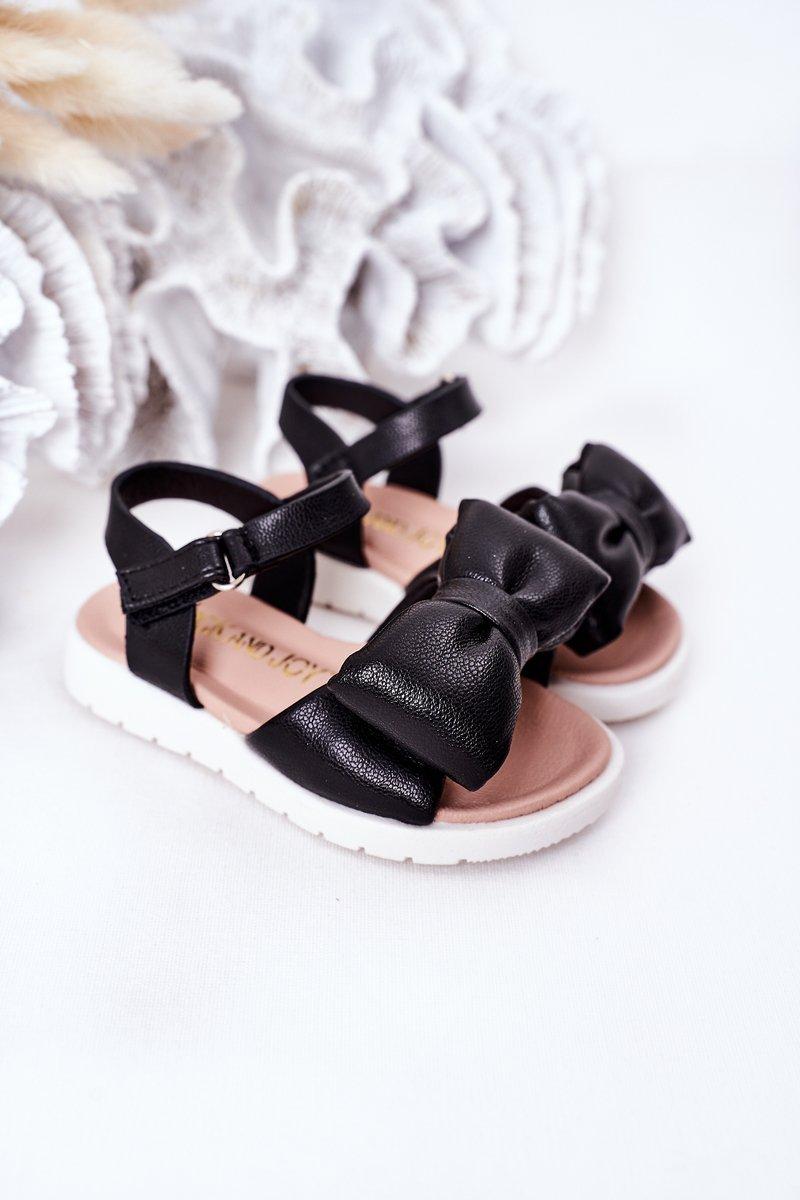 Children's Sandals With Bow Black Abbie
