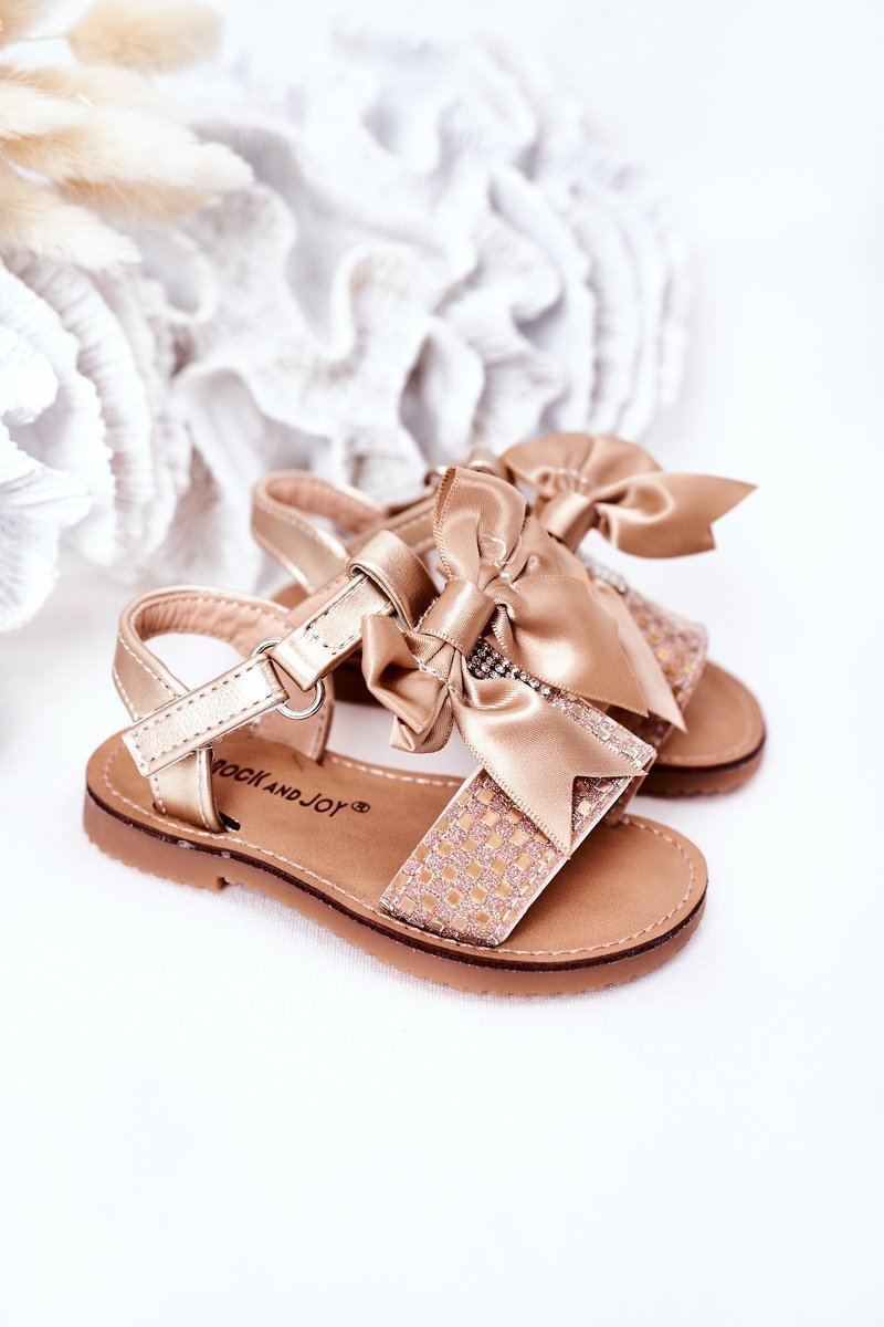 Children's Sandals With Bow Gold Beebee