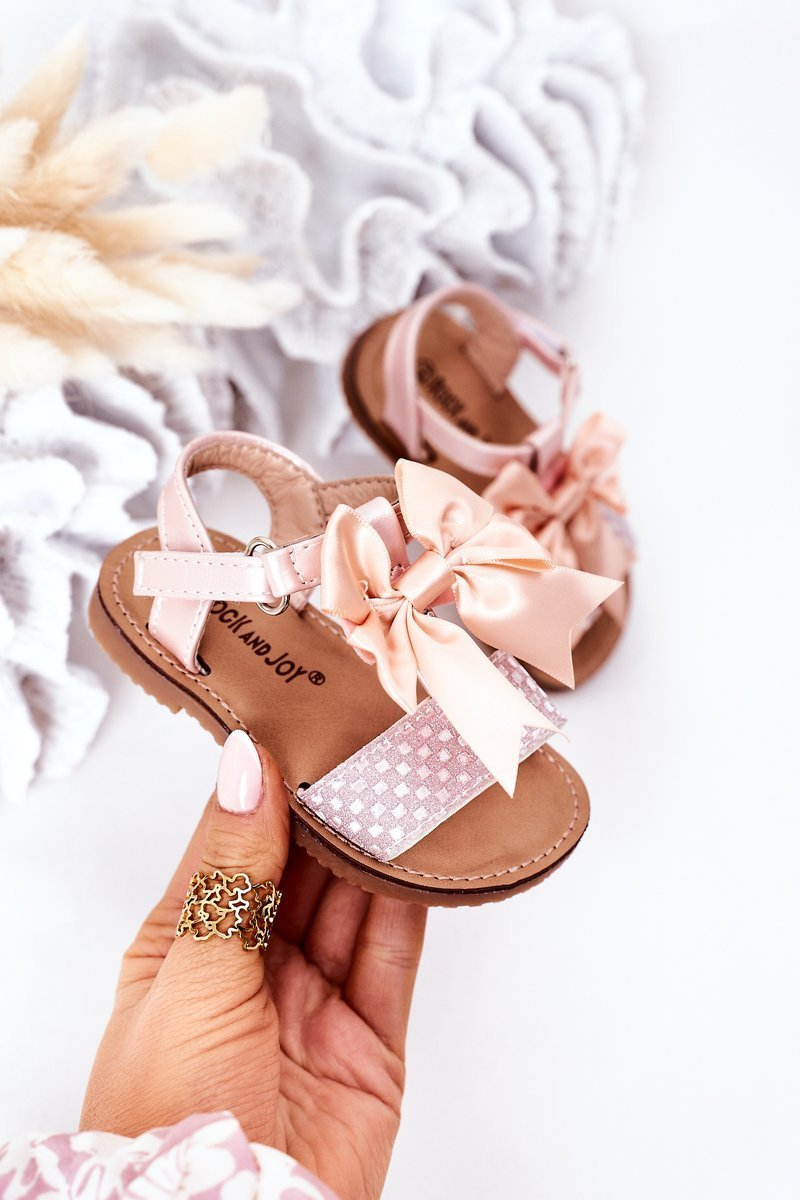 Children's Sandals With Bow Pink Beebee