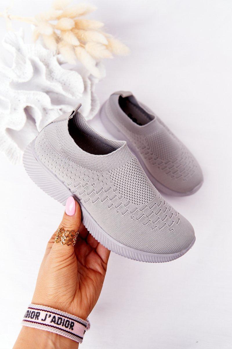 Children's Slip-On Sneakers Grey School Trip