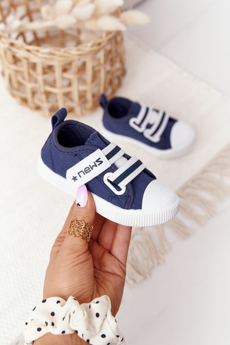 Children's Sneakers With Velcro Navy Blue News