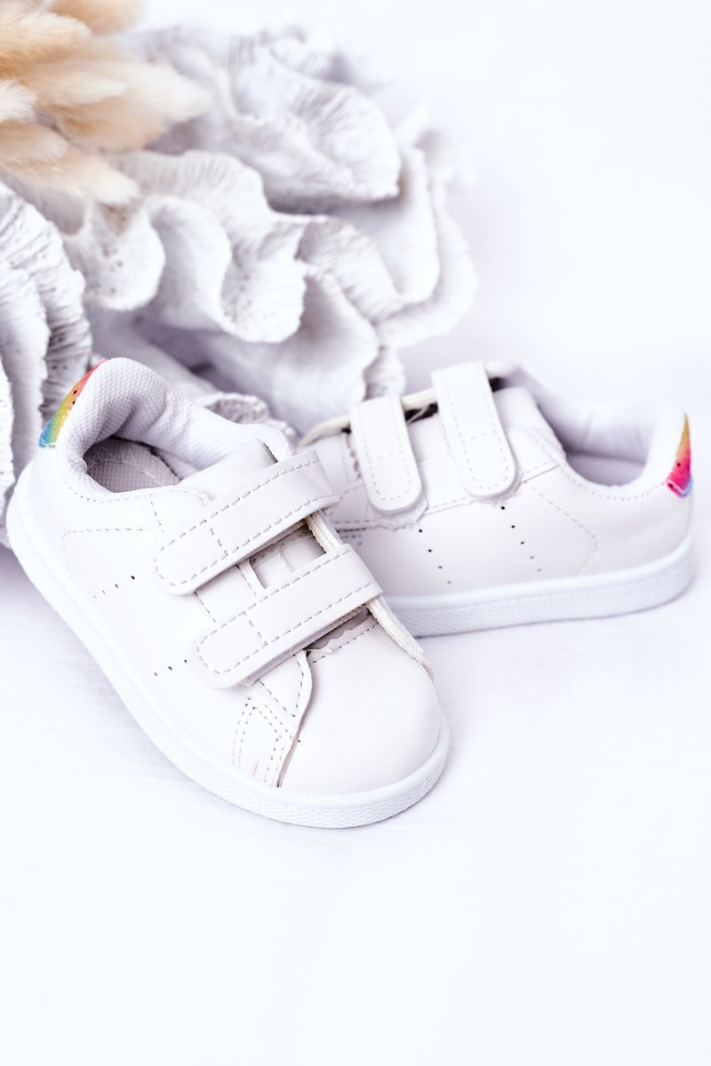 Children's Sneakers With Velcro White-Rainbow Cute Girl