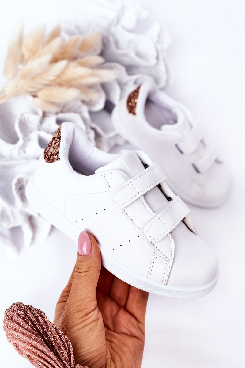 Children's Sneakers With Velcro White-Rose Gold Cute Girl