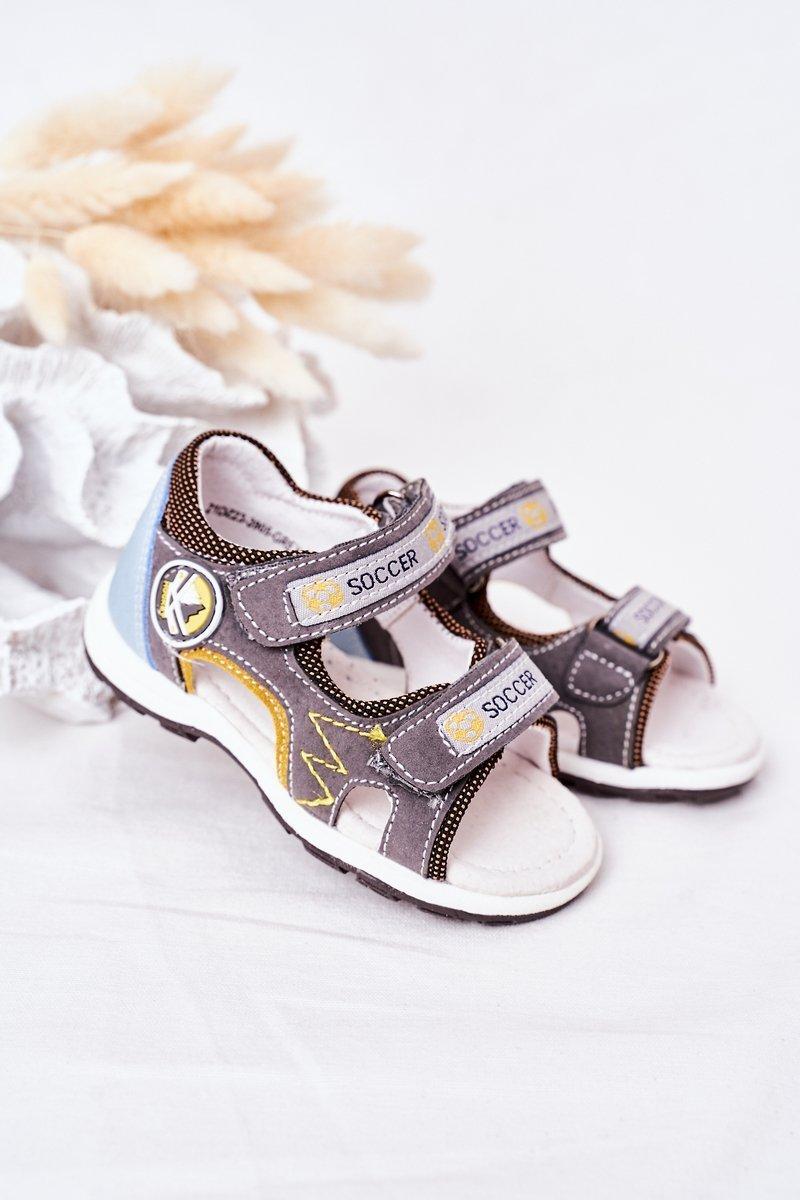 Children's Velcro Sandals Gray Soccer