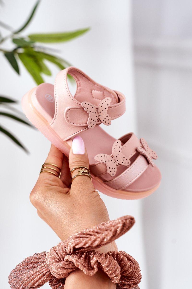 Children's Velcro Sandals With Butterflies Pink Malvika