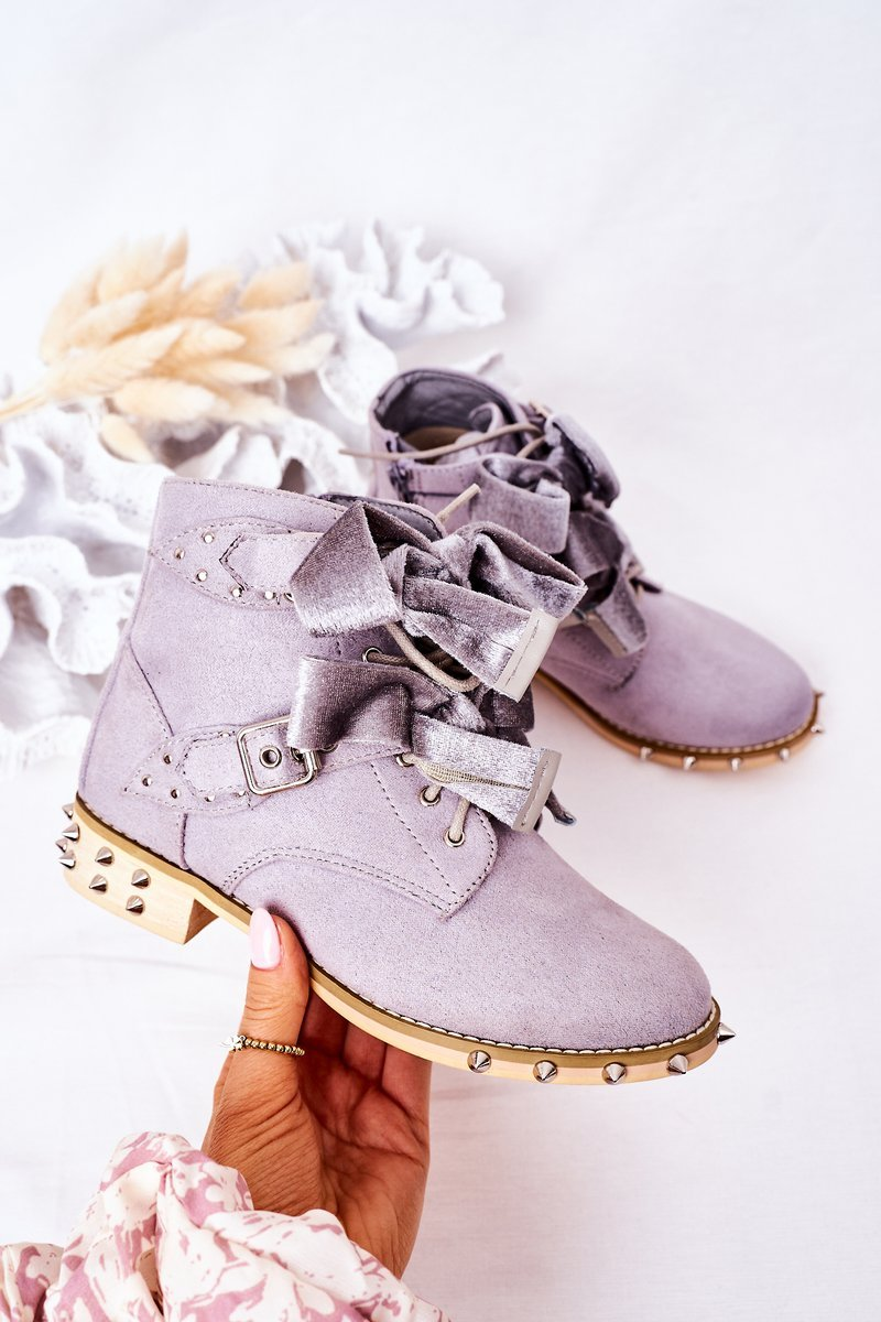 Children's Warm Boots With Studs Lu Boo Grey