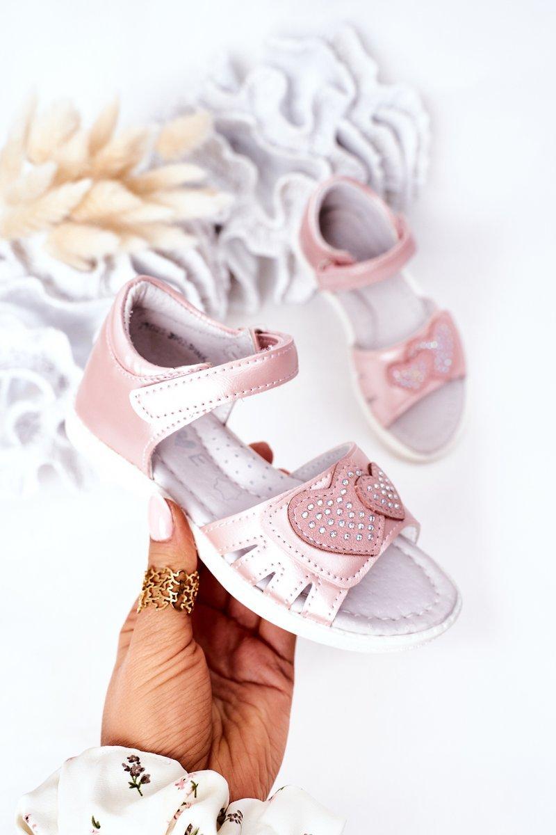 Child's Velcro Sandals Pink My Heart