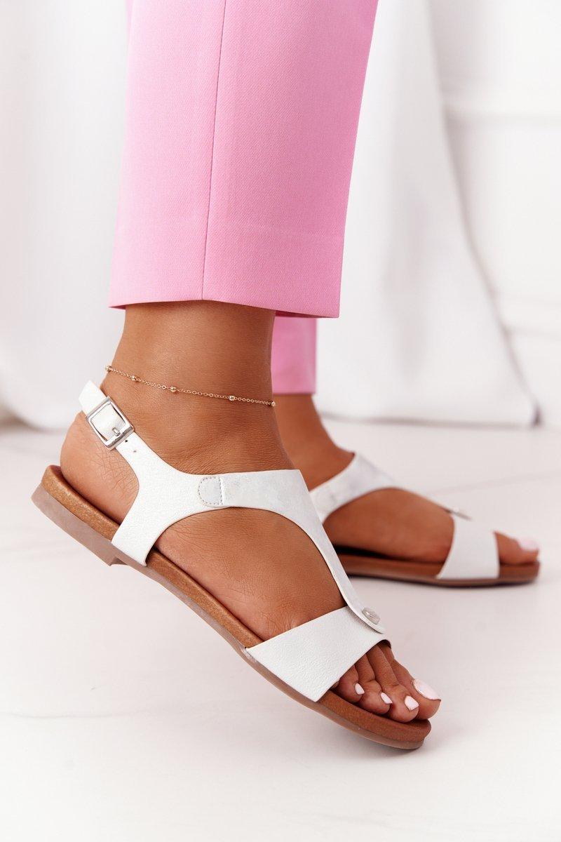 Classic Leather Sandals S.Barski 541-8 Silver