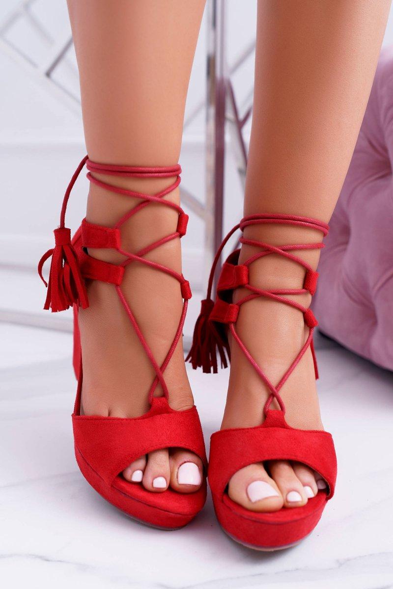 Czerwone Zamszowe Sandały Na Koturnie Tessa