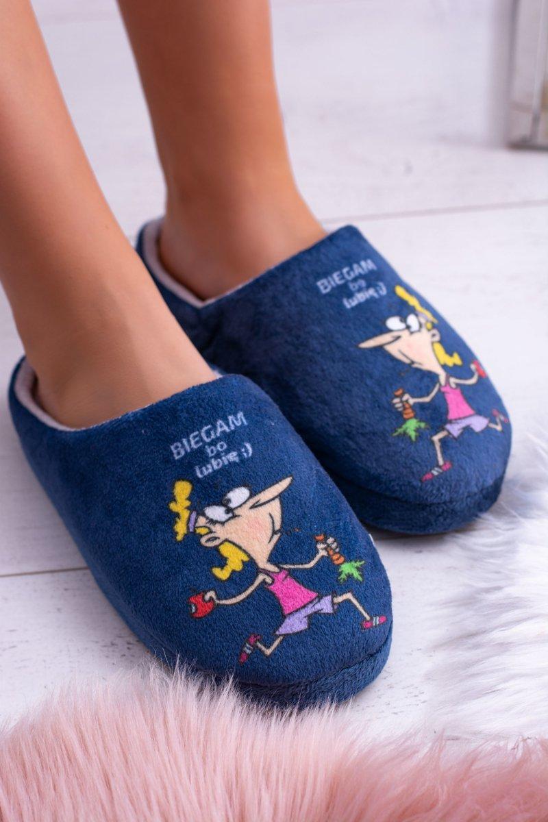 Dreex Women's Plush Slippers Navy Blue Biegam Bo Lubię