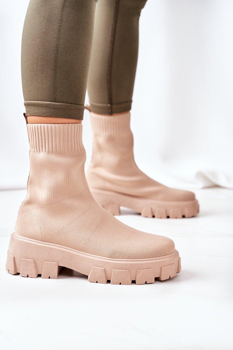 Elastic Fabric Boots On The Platform Beige Inspiration