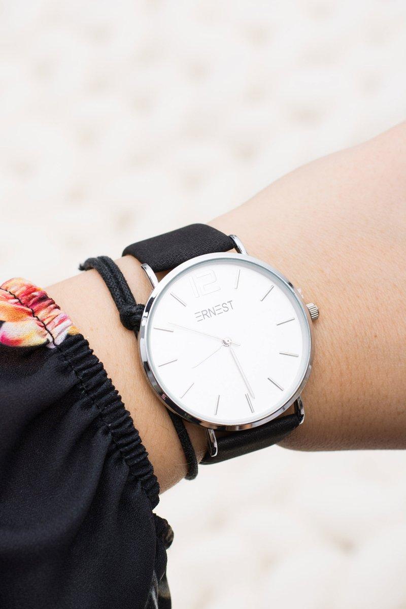 Elegant Leather Black Women Ernest Watch