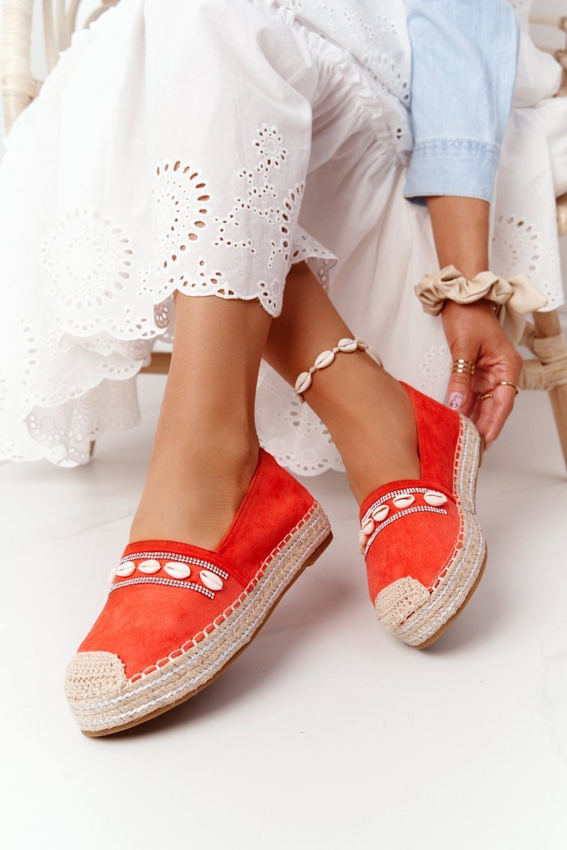 Espadrilles On A Platform With Shells Coral Seashell