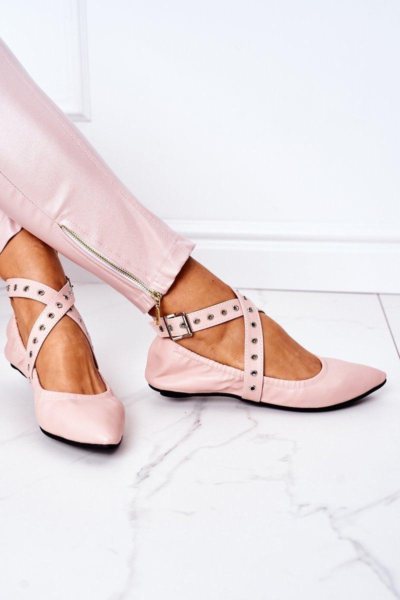 Folded Leather Ballerinas Lu Boo Pink