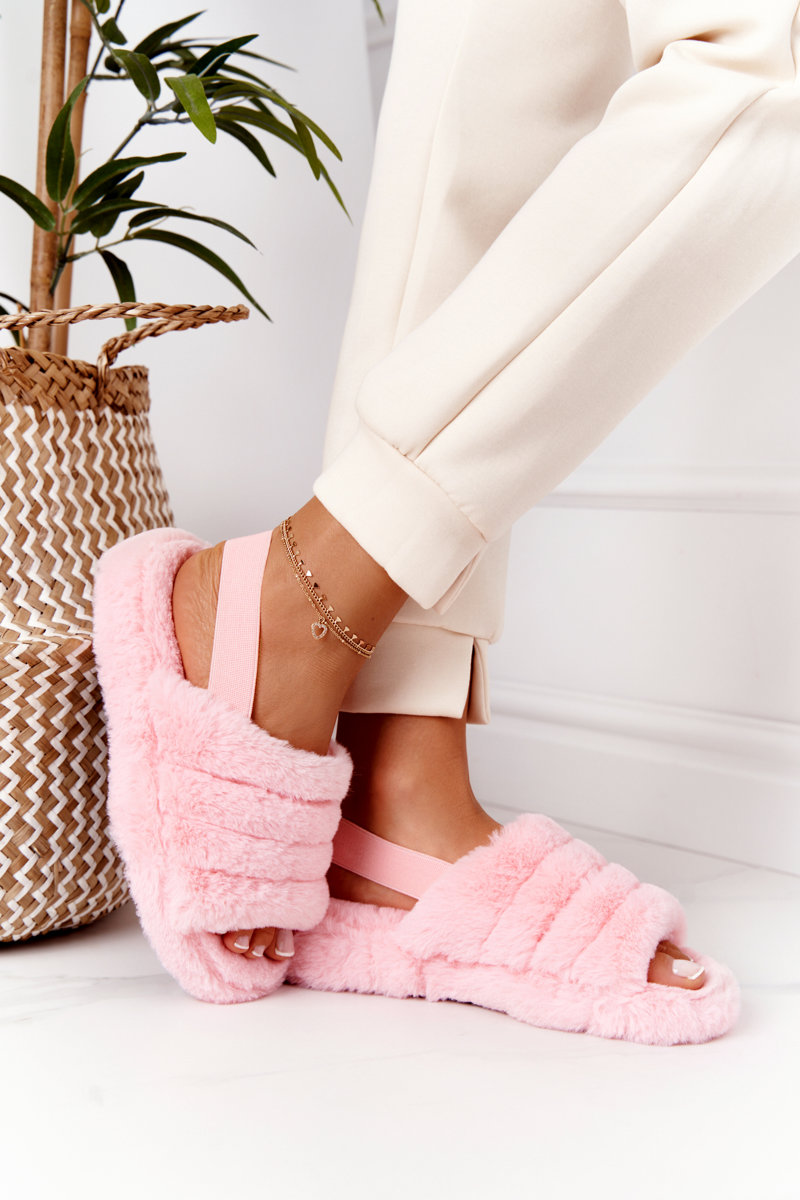 Furry Slippers On The Platform Light Pink Snowflake