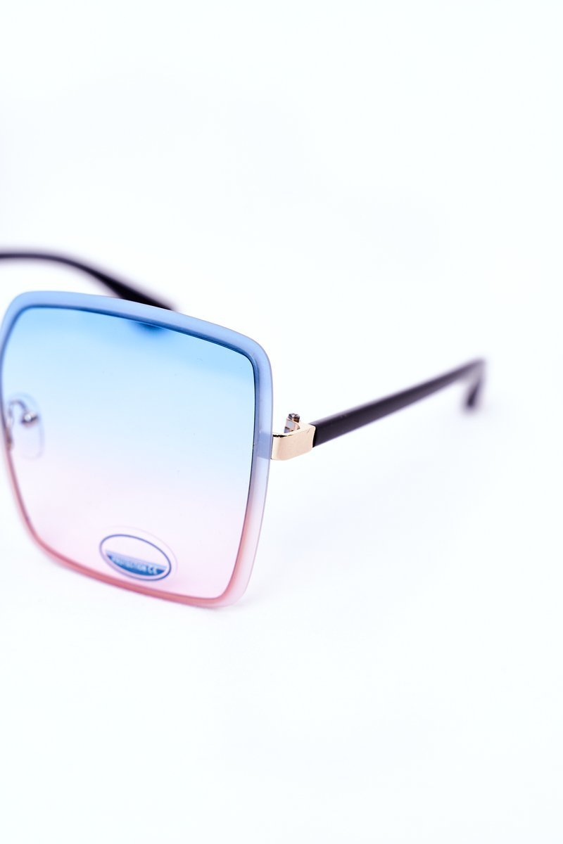 Gold Square Sunglasses Blue-Pink Ombre