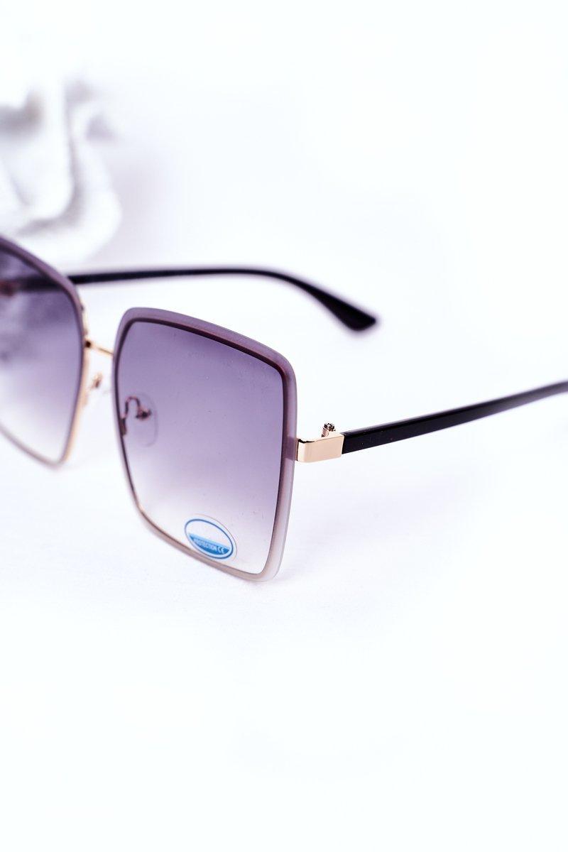 Gold Square Sunglasses Grey Ombre