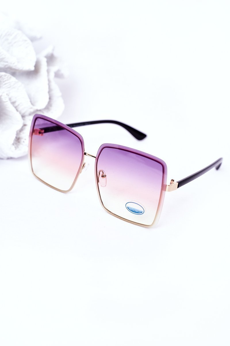 Gold Square Sunglasses Violet-Yellow Ombre