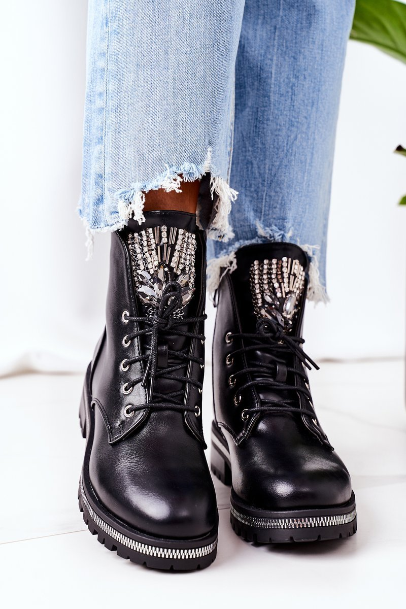 Insulated Boots With Cubic Zirconia Black Attention