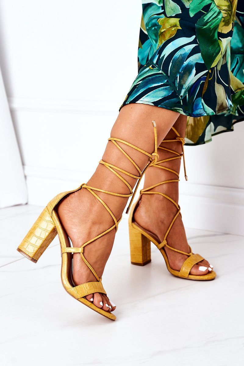 Lace-up High Heel Sandals Yellow Catwalk