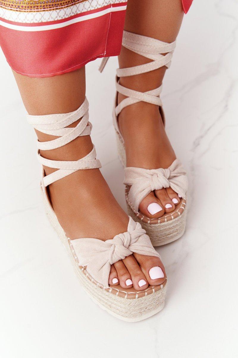 Lace-up Sandals On A Braided Platform Beige La Palma