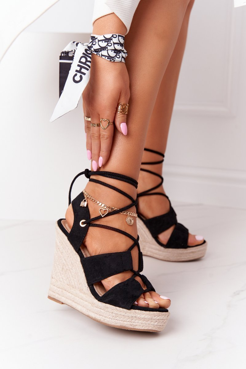 Lace-up Wedge Sandals With Braids Black Mallorca