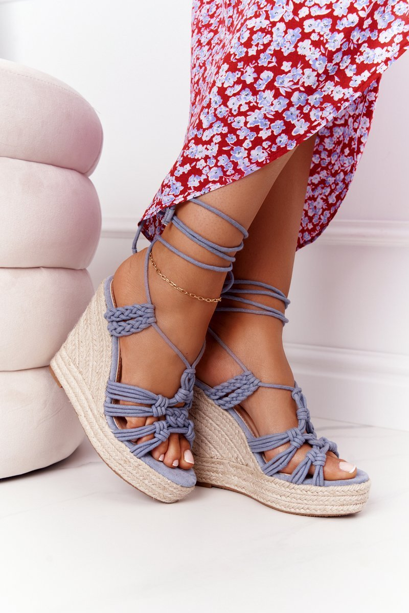 Lace-up Wedge Sandals With Braids Light Blue Run The World