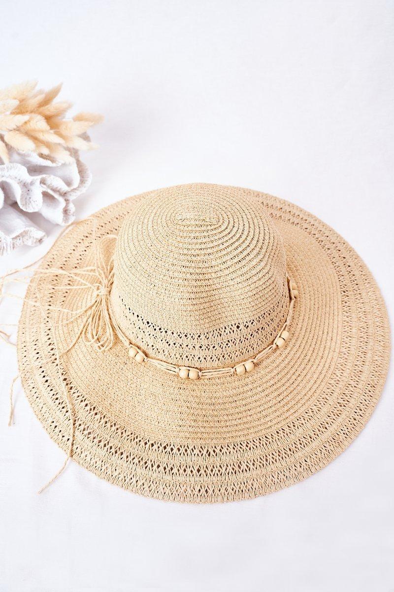 Large-Brimmed Straw Hat BRUNO ROSSI Beige