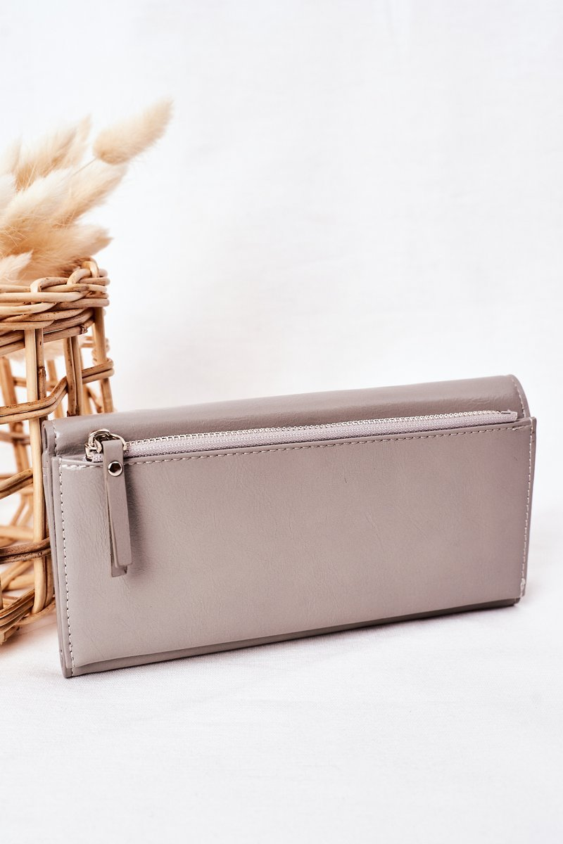 Large Women's Wallet With A Magnet Grey