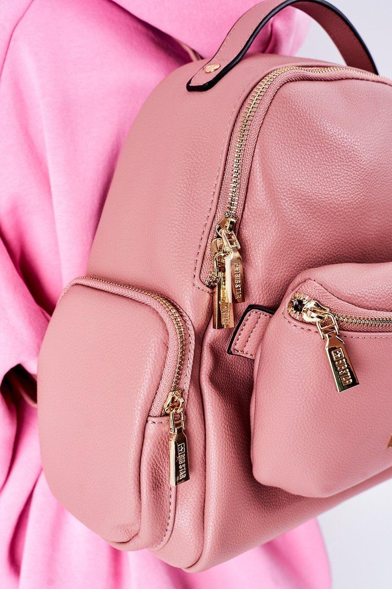 Leather Backpack / Kidney Bag 2in1 Big Star HH574059 Pink