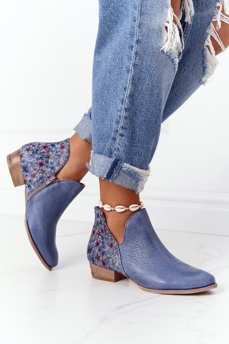 Leather Boots Maciejka Navy Blue With Flowers 04091-64