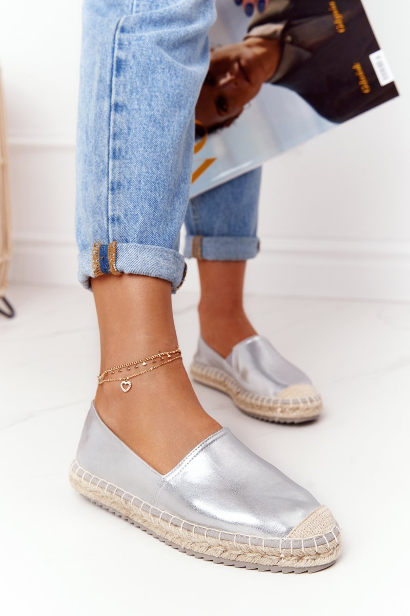 Leather Espadrilles On A Braided Sole Big Star HH274504 Silver