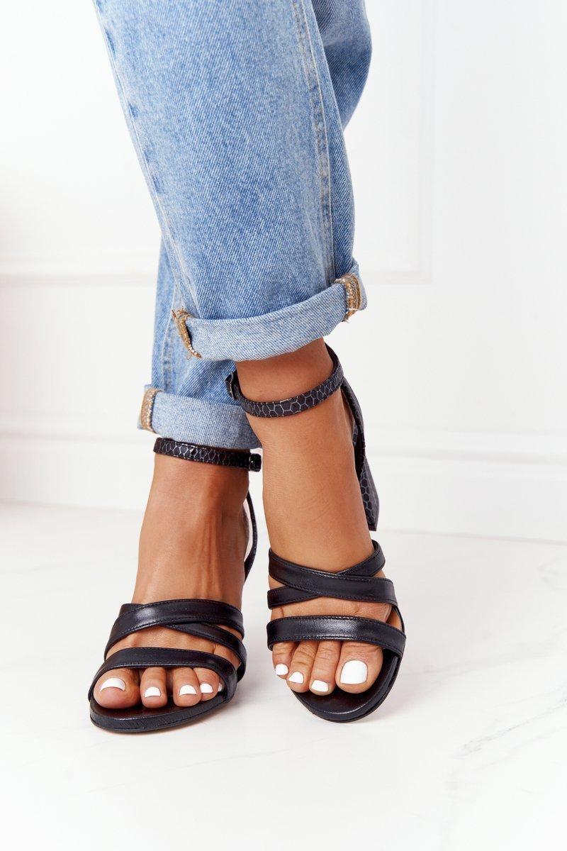 Leather High Heel Sandals Black Visconi 4400476